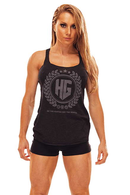HG Tri-Blend Ladies Razor Back Vest BLACK