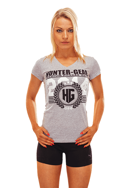 HG Ladies Sporty V-Neck T-Shirt HEATHER GREY